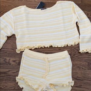 Jump into bed stripe Sweater and shorts Lounge Set